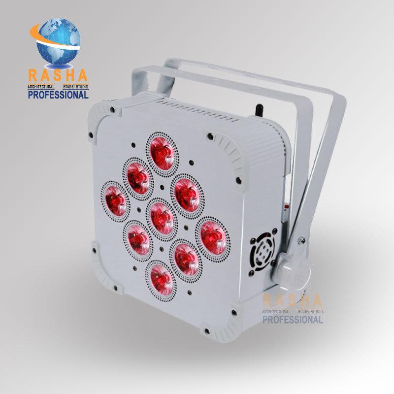 In Stock Rasha High Qualtiy 9*18W 6in1 RGBAW UV Battery Powered Wireless LED Flat Par Light,Disco DJ Wifi LED Par Can,110-240V(China (Mainland))