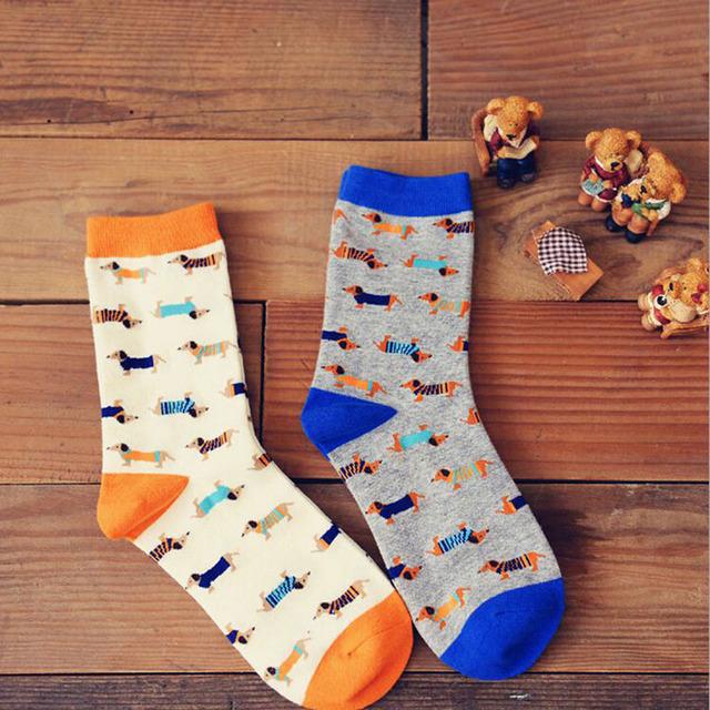 Новинка Caramella смешные люди женщин такса длинные носки корейский новинка любителей собака носок творческой пары подарок носки