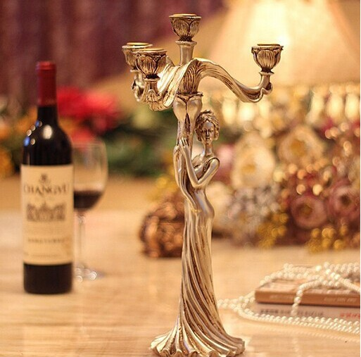 Europe classical silver plated candelabra 4 arms wedding stick candle holder centerpiece Christmas home decoration gift(China (Mainland))