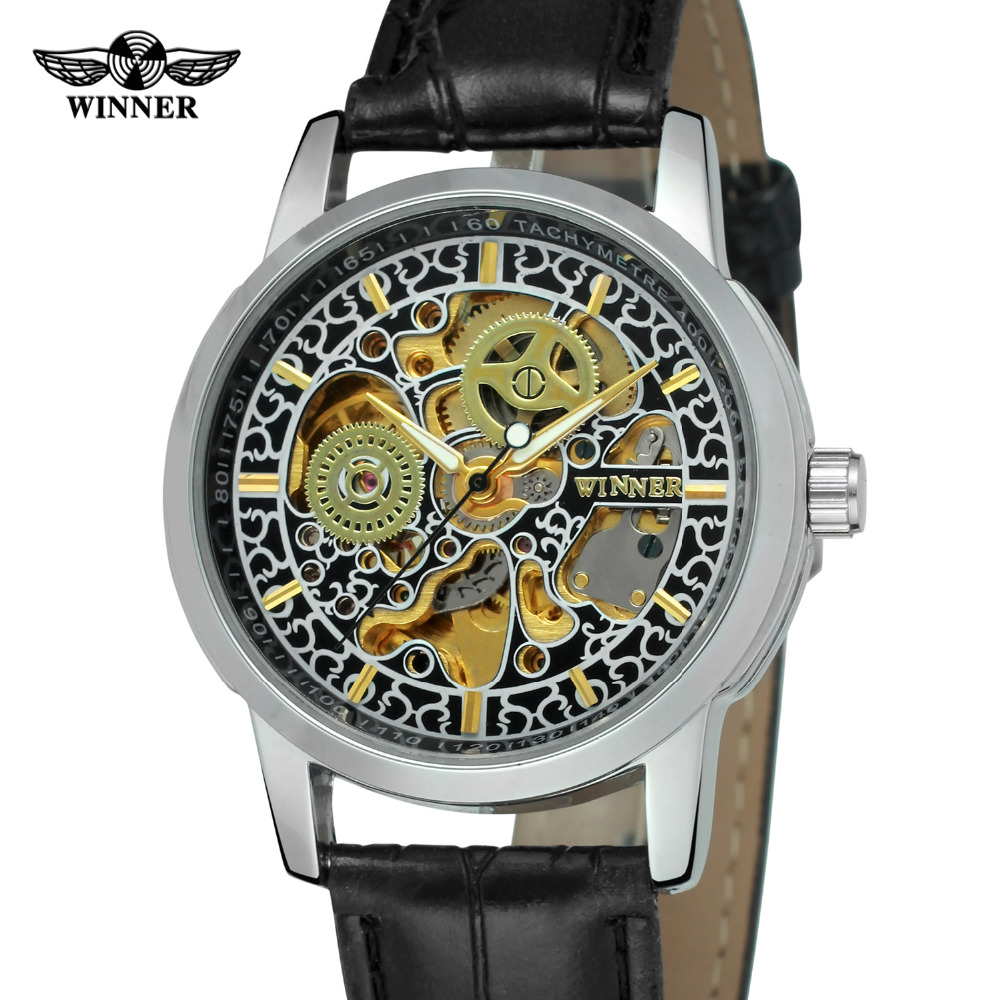 2016 Brand New Gold Case Men Hollow Skeleton Automatic Mechanical Leather WristWatch - Iwatch: Victoria and Her Secret store
