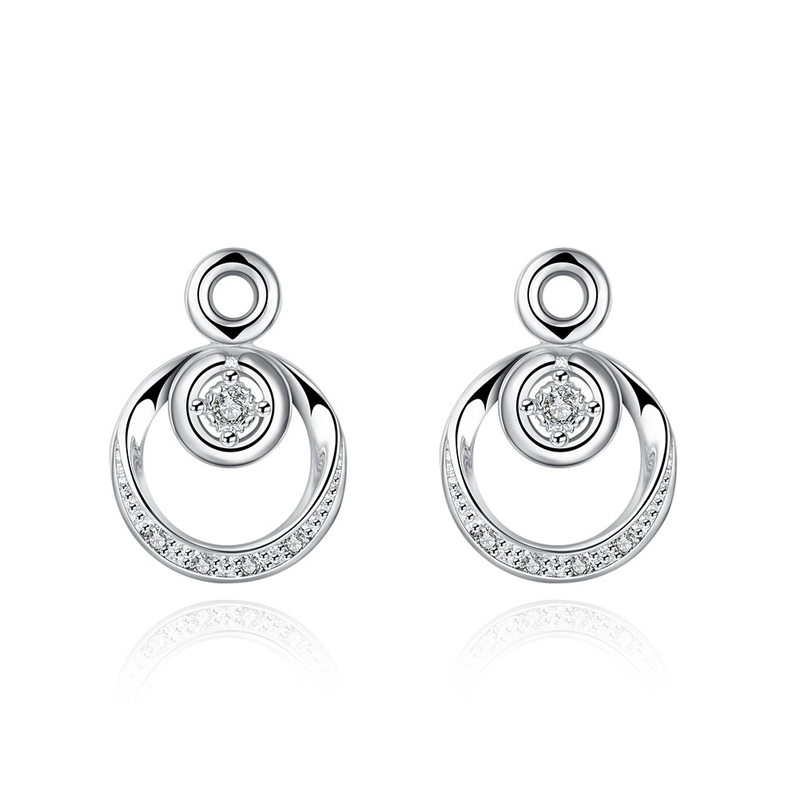 2016 Hot AAA Zircon Earrings Brand Silver Plated Round Pattern Geometric Crystal Stud Earrings For Women Jewelry New Rhineston(China (Mainland))