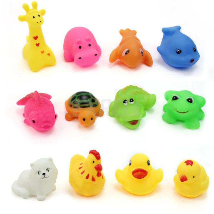 12 pcs/Lot Mixed Different Animal Bath Toys Children Washing Education Toys Soft Rubber Float Press Sound Baby Wash Bath Toys(China (Mainland))