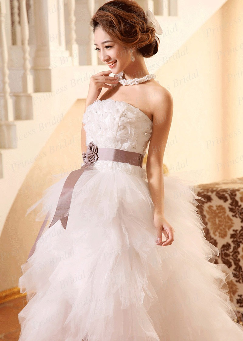 High Low Wedding Dress Asymmetrical Strapless Lace Up Back