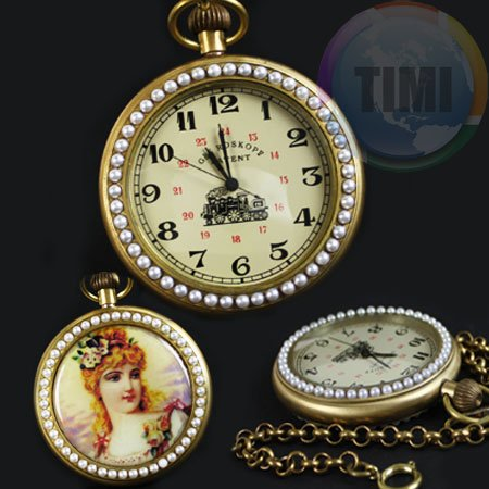 wholesale Vintage Copper Pearl Image Mechanical Pocket Watch freeship<br><br>Aliexpress