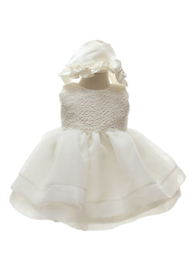 BABY WOW Ivory Baby Girl Christening Dress+hat Wedding 1 Year Birthday Party Bautizo First Communion Dresses Girls 70987 - linhaiying baby formal dress store