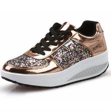 {D&H}Cool Gold Sequined Spring/Autumn Shoes Women Casual Shoes Sport Fashion Walking Shoes Swing Wedges Shoes Woman Ankle Boots(China (Mainland))