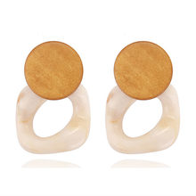 e913 Handmade Wooden Dangle Earrings 2019 Fashion Jewelry Green/Black Wood Statement Earrings Boho Earring accesorios mujer(China)