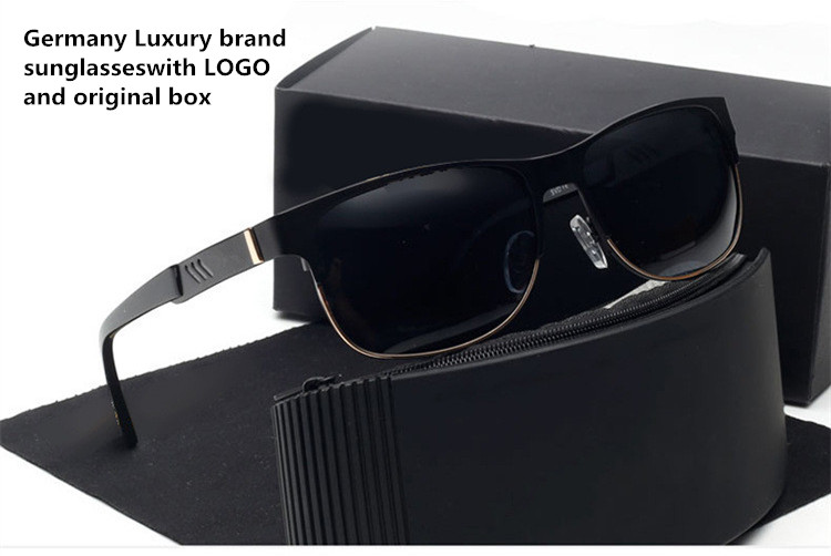 Germany Luxury Brand Men Polarized Driving Sunglasses Lunette de soleil homme/So real sunglasses Designer sunglasses with box(China (Mainland))