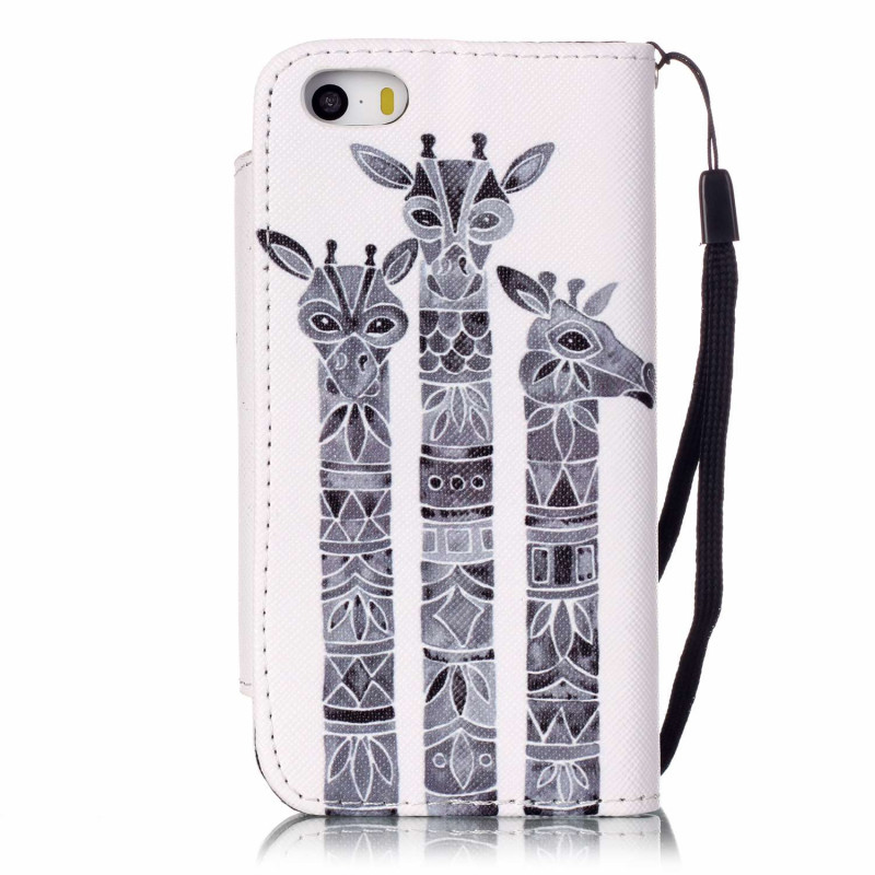 For iPhone SE Flip Wallet Case Leather Cover iPhone 5S 5 Coque Funda With Card Holder Kickstand Function Wrist Strap Soft Case