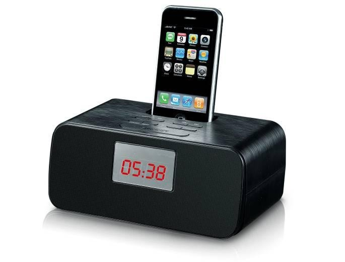 free shipping docking station for iphone ipod docking speaker with alarm clock radio portable. Black Bedroom Furniture Sets. Home Design Ideas
