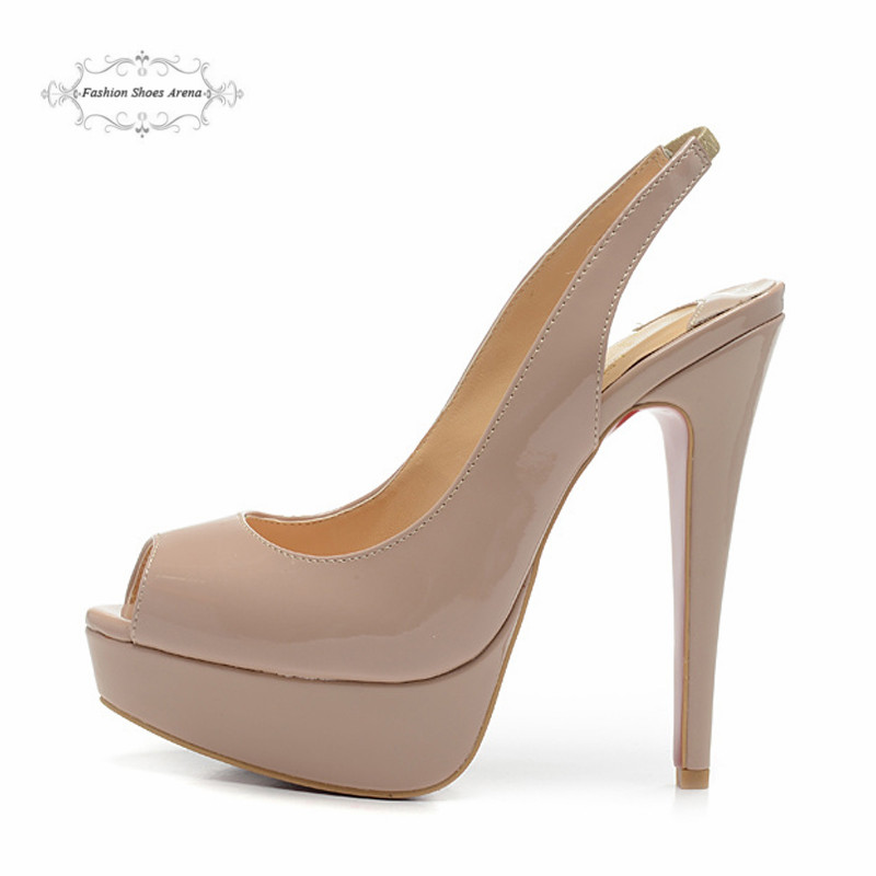 Size 35-41 Womens 14cm High Heels Beige Patent Leather Sexy Red Bottom Slingback Pumps, Ladies Brand New Platform Sandals Shoes<br><br>Aliexpress