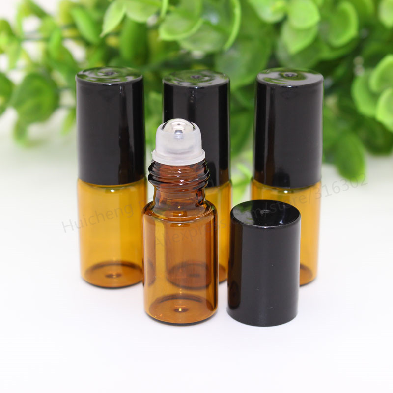 30 x 3ml Amber roll on roller bottles for essential oils roll-on refillable perfume bottle deodorant containers with black lid(China (Mainland))