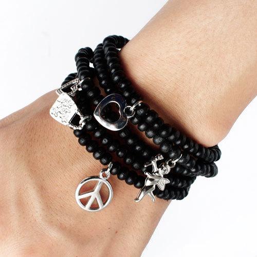 2013 Fashion Punk Style Silver Alloy Heart Anchor Angel Pendants Charm Bracelets Black Beads Chain Strand Bracelet Women Men - Jewelry Home's store