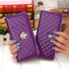 Hot sale women quilted long wallet crown purse women Wallets With Coin Bag Plum flower clutch bag carteras female dollar price(China (Mainland))