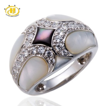 Natural White Mother of Pearl Solid 925 Sterling Silver Jewelry Fashion Fine Ring for Women