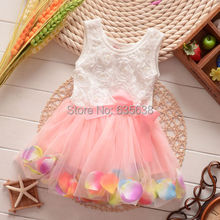 Free Shipping Cute Kids Girls Princess Rose Flower Petal Bow dress summer Lace sleeveless Tulle Dress Kid Girl's Clothes Hot(China (Mainland))