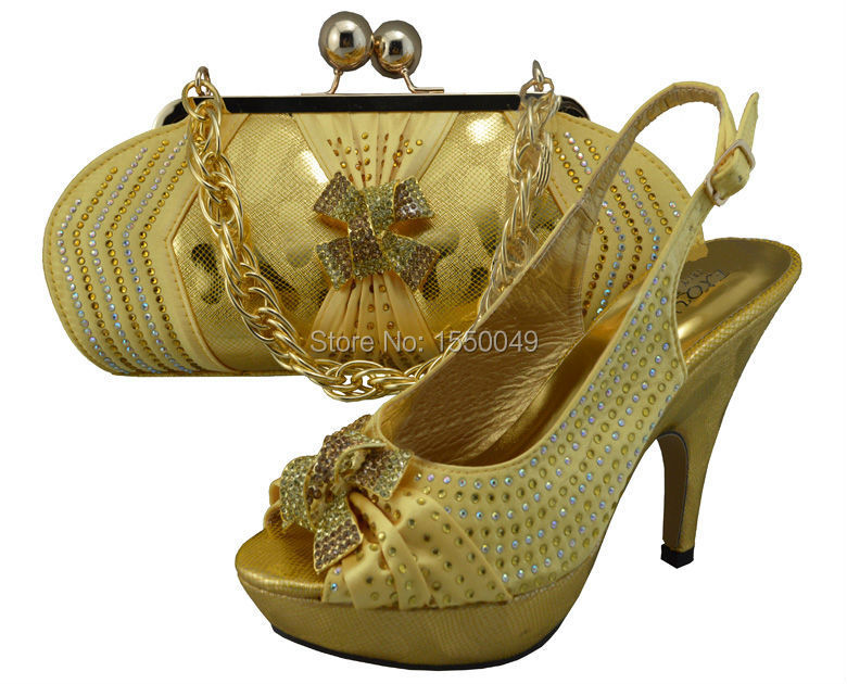 2015 new womens shoes and bags set fashion African Italian design shoe and matching bags,GF23 gold color sexy party pumps<br><br>Aliexpress