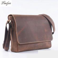 Buy Men's Vintage Crazy Horse Leather shoulder bag Brown genuine leather Shoulder bag cowhide Messenger Bag A4 work bag causal for $59.25 in AliExpress store