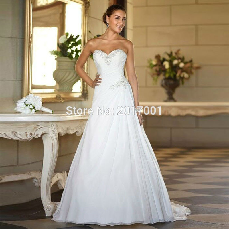 High Quality Sweetheart Chiffon Wedding Dresses Plus Size 2016 Cheap Hot Sale A-line Beaded Summer Bohemian Bridal Gowns(China (Mainland))