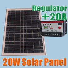 20W Solar Panels + 20A 12V 24V Solar Controller, 18V Solar cell panels charger 12V battery(China (Mainland))