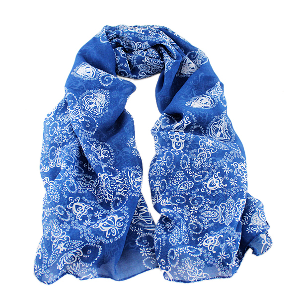 Charming Scarves Traditional Design Chiffon Pink Blue Colorful Floral Printed Scarf For Women New 2014 Fashion(China (Mainland))