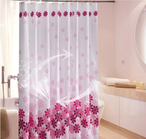 Free Shipping Thickening Waterproof Shower Curtain 180cm 180cm Flower Pink White 71inches High