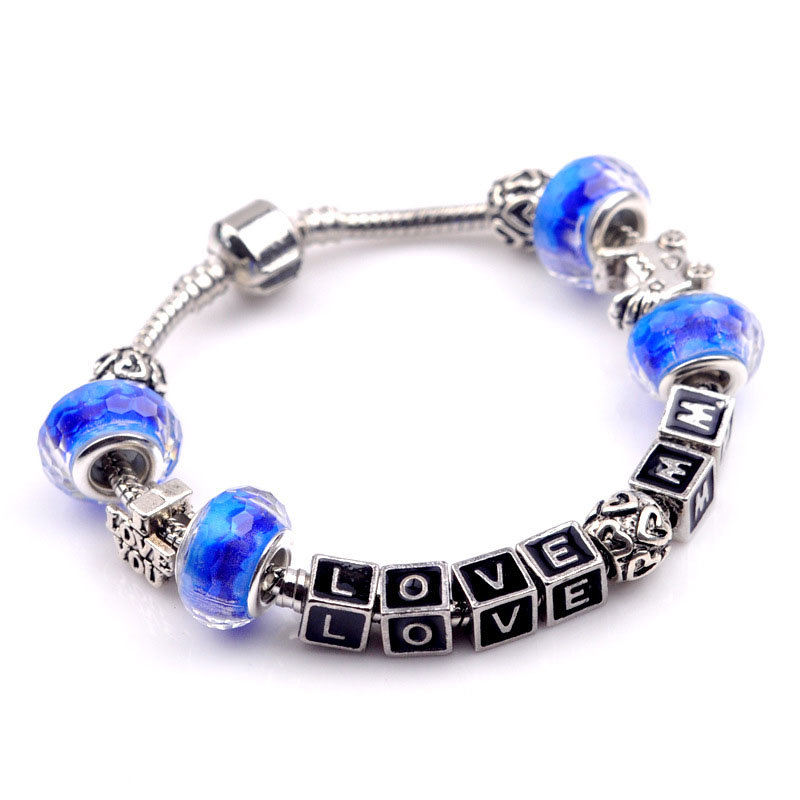 Drop Shipping New Trendy Charm Chamilia Bracelet Murano 18K Silver Plated Glass for Women Fashion European Style Jewelry PSL0008(China (Mainland))