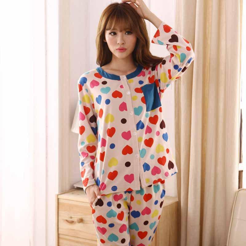 Women Spring Autumn Long-sleeved Heart Pattern Sweet Cardigan Pajamas Sleepwear Casual Home Clothing Nightwear - chengfu zhang's store