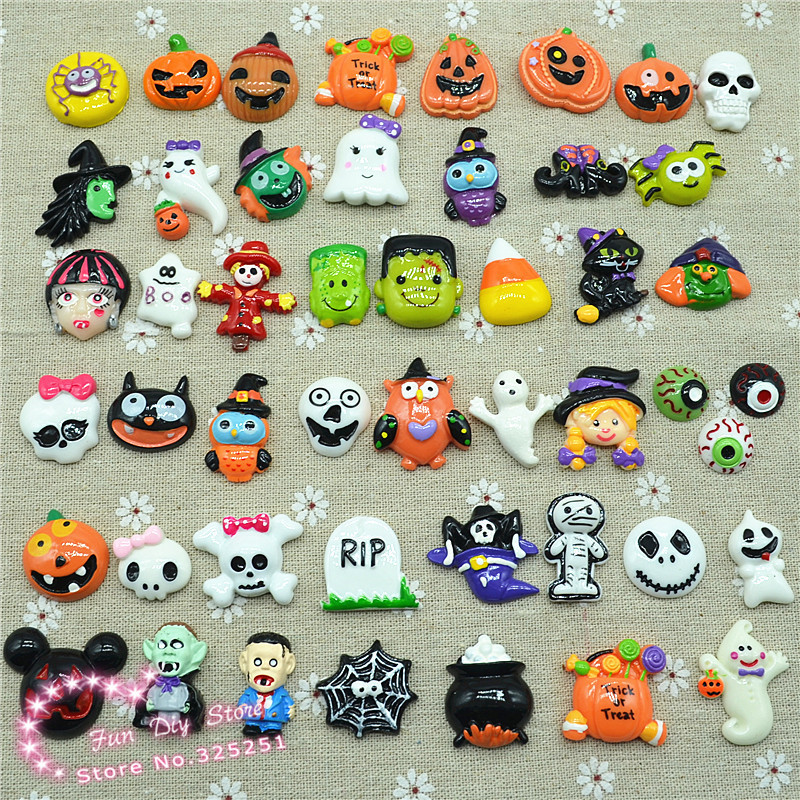 Wholesale Halloween set pumpkin Party Resin Cabochon Flat Back 50pcs 20-30mm free shipping(China (Mainland))