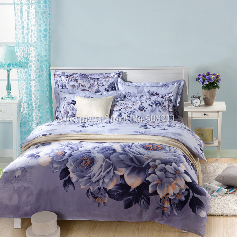 New Arrivals 4pcs Queen King Cotton Duvet Covers Purple