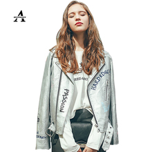 Sliver Leather Jacket Women 2016 Spring Motorcycle Short Slim Graffiti Print Short PU Belt Blouson Cuir Femme Veste Cuir Femme(China (Mainland))