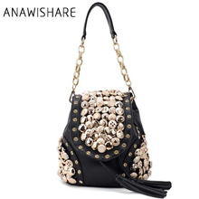 Buy ANAWISHARE designer women handbags leather tassel chain shoulder bag rivet crossbody bags women messenger bags bolsas for $19.24 in AliExpress store