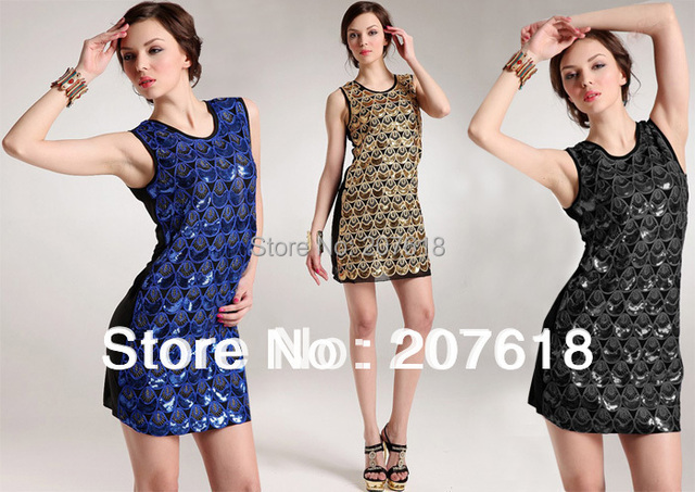 New Arrival Women Sleeveless Sequin Formal Dresses Sexy Western Mini Prom Party Dress