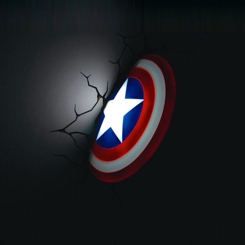 Hot Selling Birthday Gift For Kids Birthday Gift Dreammaster Captain America Shield Wall Sticker Lamp(China (Mainland))
