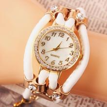 2015 nueva moda de nueva Hawaii Casual partido cristalino de la joyería de cuero relojes mujeres RhinestoneChain reloj de cuarzo de cuero