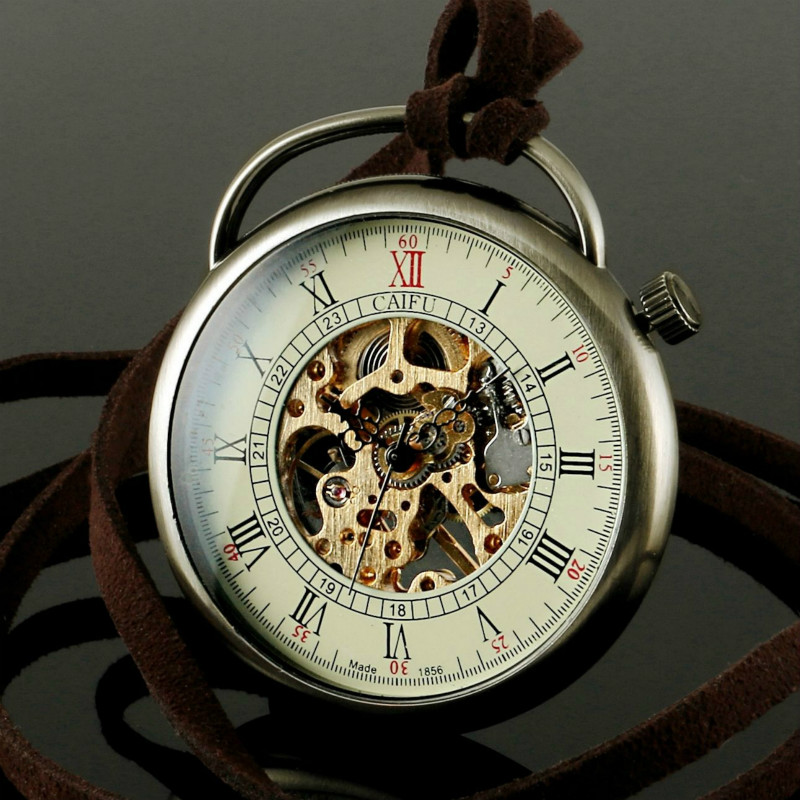 steunk vintage mechanical skeleton bronze mens pocket