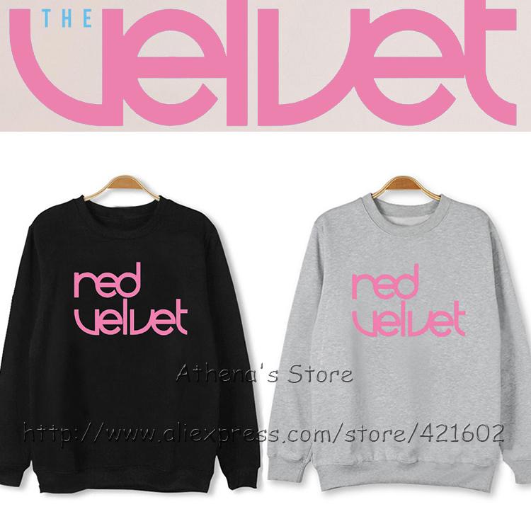 Korean Red Velvet 100% Cotton Pullover Red Velvet album The Velvet Hoodies Kpop Clothing Joy Irene Sweatshirt Jumper THEVELVET(China (Mainland))