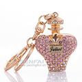 Luxury Perfume Bottle Fragrances Keychain New Brand Juliet Chaveiro Keychain Bling Rhinestone Keyring Gift for Women