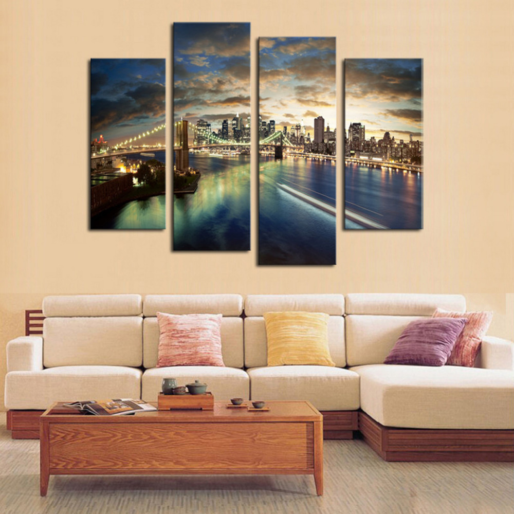 4 Panels City View Large Hd Canvas Print Painting For Living Room Wall Art Picture Gift Home