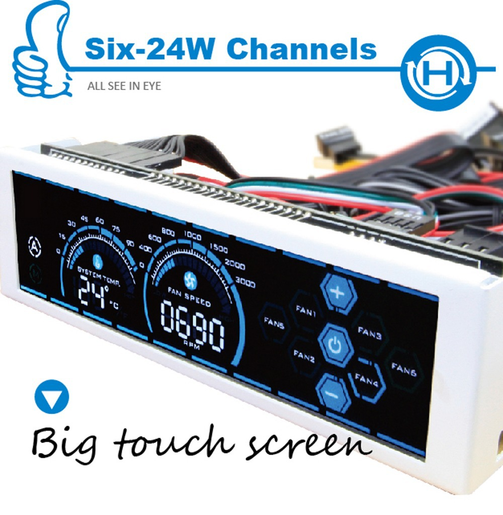 ALSEYE a-100L 6 Channel computer fan controller fan speed controller gaming fan 5.25 touch LCD Liquid Cooling Pump Control(China (Mainland))
