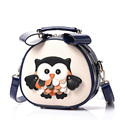 Lovely Owl Print Ladies Mini Shoulder Bag Sweet Style Casual Small Bag Fashion Contrast Color Cute