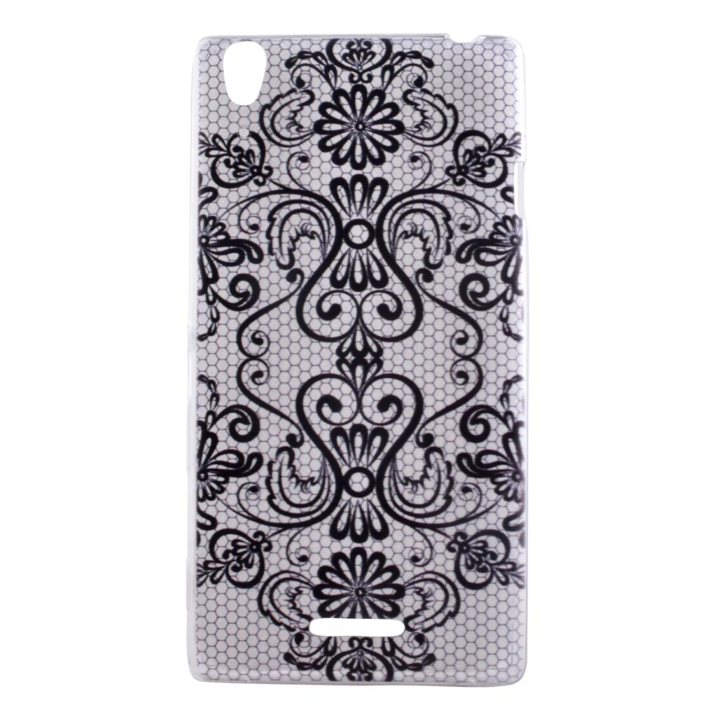 Fashion painting black retro flowers design phone cases for Sony Xperia T3 case transparent TPU soft silicone back cover(China (Mainland))