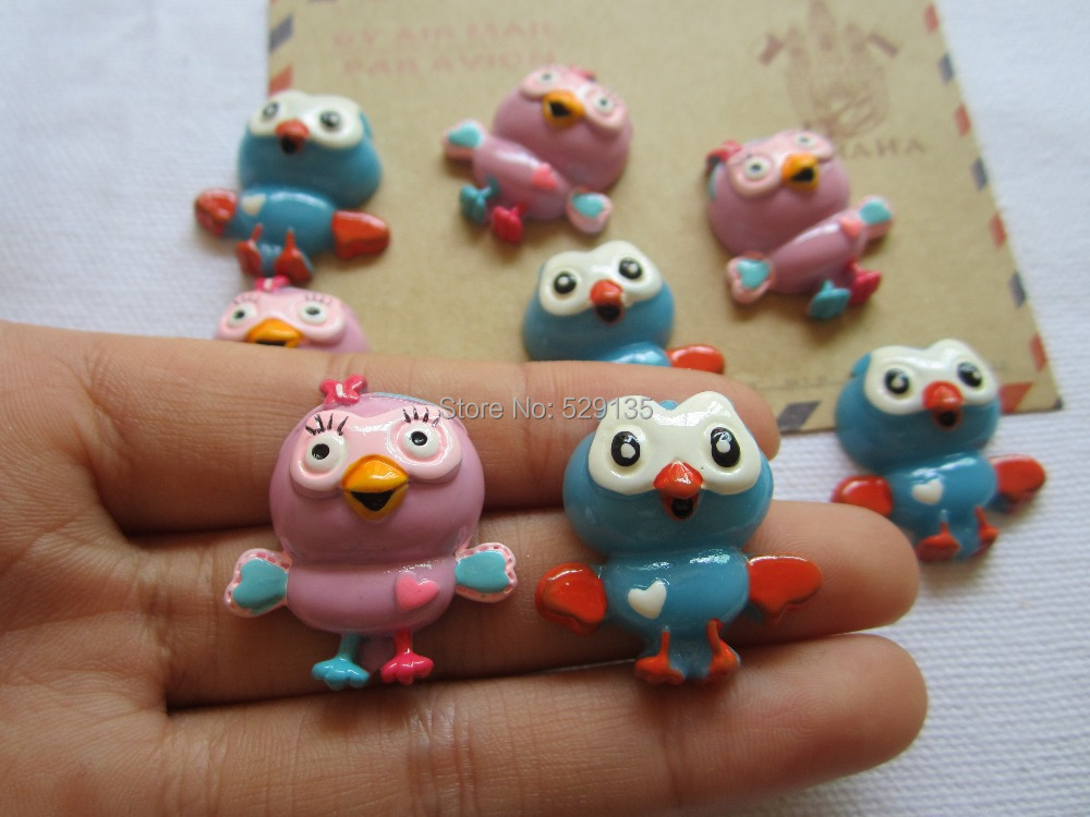 Free Shipping! Min. order is $10 (mix order), Resin girl&boy Owl, Resin Flatback Cabochons for Hair Bow Center, DIY (25*28mm)(China (Mainland))