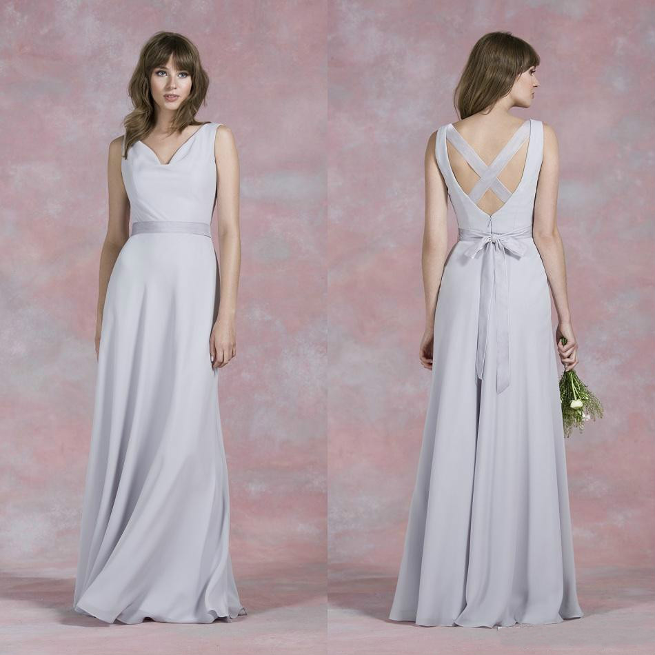 Simple Wedding Dresses Cheap: 2016 Simple Cheap Bridesmaid Dresses Long V Neck Ribbons