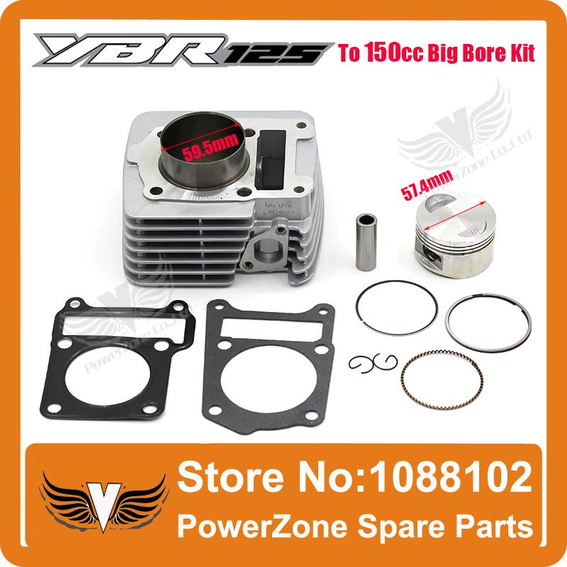 2015 High Performance YBR125 to 150CC 57.4MM Big Bore Kit Full Set Motorcycle Necessary modification Free Shipping!(China (Mainland))