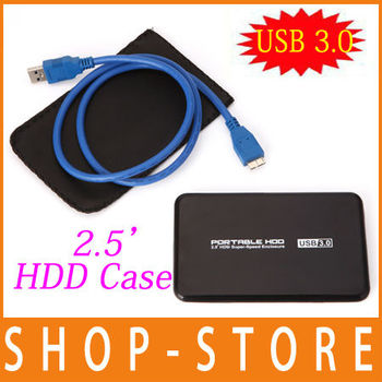 "Free Shipping USB 3.0 HDD Hard Disk Drive External Enclosure 2.5"" Inch SATA Case Box Shell"