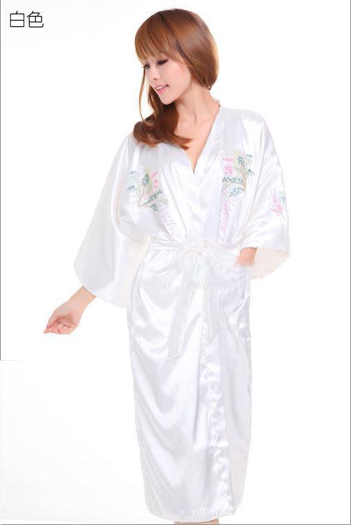 White Women's Embroider sleepwear Bath robe gown Lingerie Sleepwear Kimono Satin Robe Bathrobe size S M L XL XXL XXXL(China (Mainland))