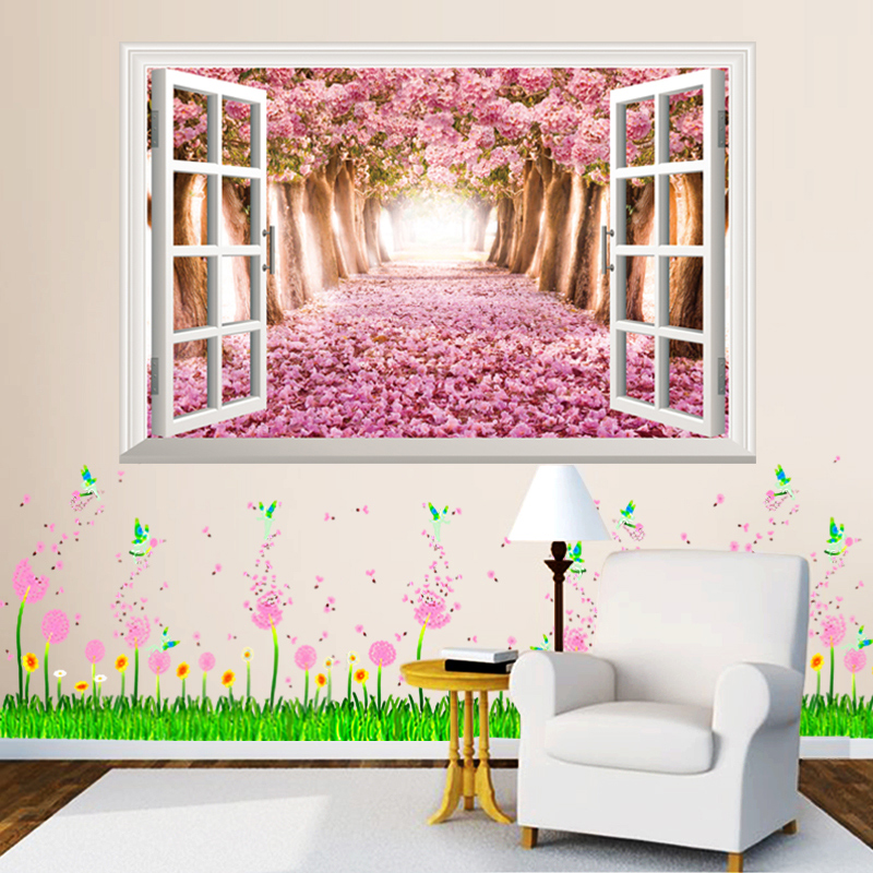 Fake window 3d landscape wall stickers creative dandelion for 3d garden decoration