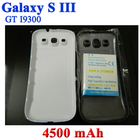 High Capacity 4500mah Extended Battery + Blue/White Back Door Case Cover For Samsung Galaxy S3 S III i9300 GT-i9300 Bateria ACCU