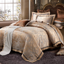Bedding set 4pcs silk jacquard noble bed linen queen king size bed set  bedclothes duvet cover bed sheet coverlet pillowcase #2(China (Mainland))